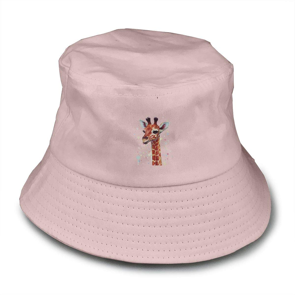 Cute Giraffe Unisex Cotton Packable Pink Travel Bucket Hat Fishing Cap