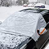 Universal Fit Windshield Snow Cover for Cars, Compact and Mid-size SUVs, Anti-theft Tuck-in Flaps, Cotton Lined PEVA Fabric with Aluminum Foil Lamination, Mirror Covers Included, Patent Pending