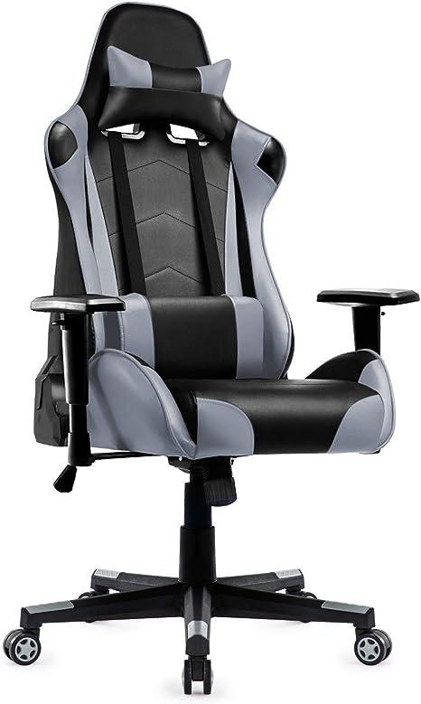 Sedia da gaming da ufficio girevole altezza del sedile//braccioli regolabili per gamers nero e grigio sedia ergonomica con poggiatesta e cuscino Lombare
