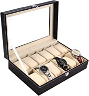 Ohuhu 12-Slot Leather Watch Box/Watch Case/Jewelry Box/Black Watch Jewelry Display Storage with Glass Top and 12 Removal Stor
