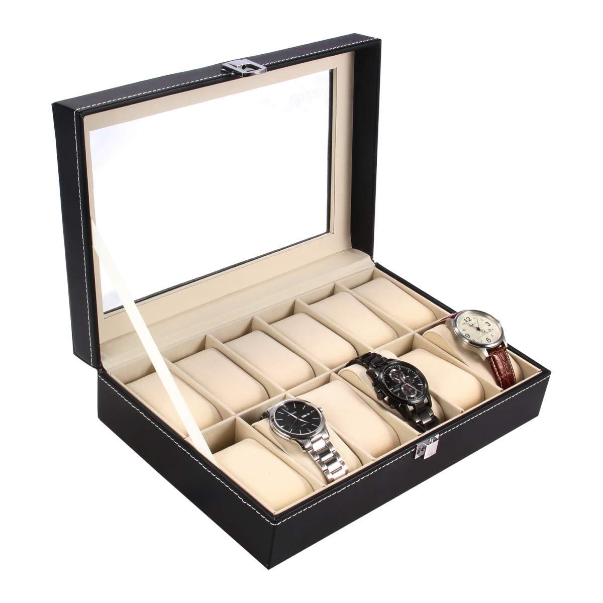 Ohuhu Watch Cases, 12 Slot Watch Box PU Leather Watches Organizer Case Lock Key, Black - Beige