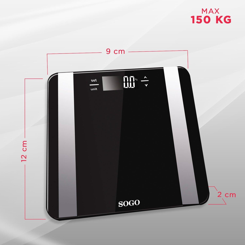 Sogo BAB-SS-3980 - Bascula de Baño Digital con medidor de grasa y agua corporal, Base Cristal, Negro: Amazon.es: Salud y cuidado personal
