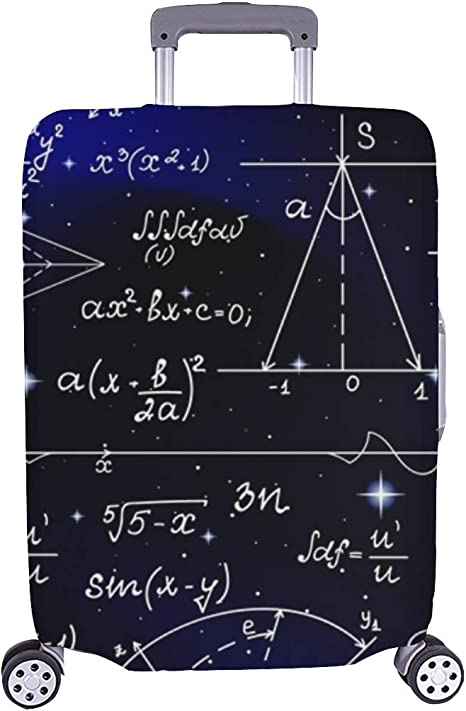 Math Formula Travel Luggage Cover Suitcase Protector Washable Zipper Baggage Cover