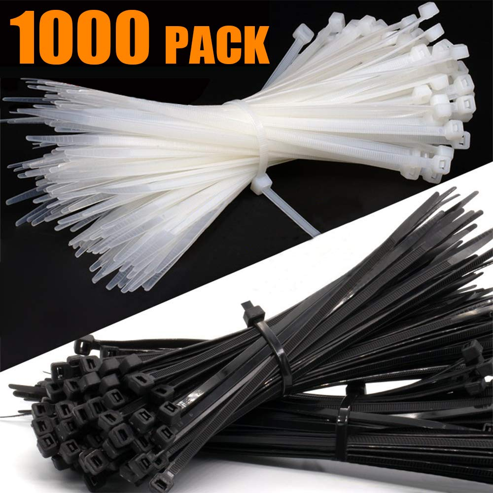 Grtard Nylon Zip Ties (BULK PACK OF 1000) 8 Inch Cable Ties in Black and White - 50lb Strength Tie Wraps - Perfect for Tying Cables, Wires, Organization, and So Much More by Grtard
