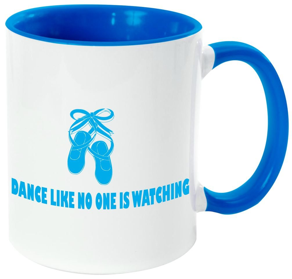 Rikki Knight''Dance Like No One Is Watching Quote'' - Funny Quotes Light Blue Handle and Inside Design 11oz Ceramic Coffee Mug Cups