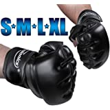 Physionics Freefight Handschuhe MMA Boxhandschuhe (Größenwahl S-XL) Handgelenkverstärkung mit Klettverschluss