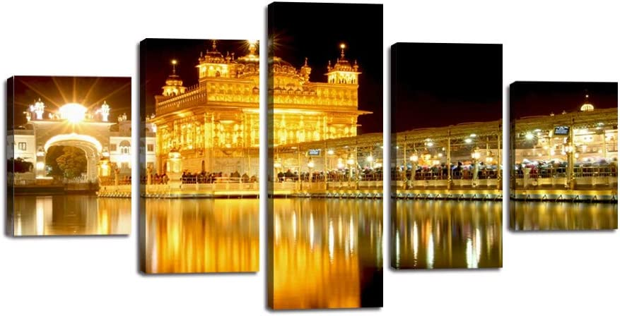 wall26-3 Piece Canvas Wall Art Oil Painting Golden Temple at Amritsar Modern Home Decor Stretched and Framed Ready to Hang India