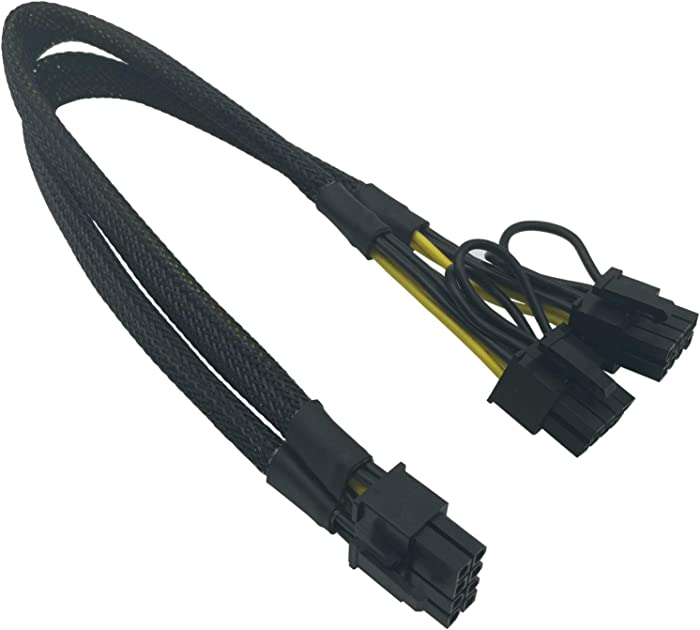 COMeap 8 Pin Male to Dual 8 Pin(6+2) Male PCIe Power Adapter Cable for Dell T3600 T3610 T5600 T5610 T5610 T7600 T7610 5810 T5810 T7810 13-inch(34cm)