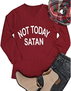 bf9def2d3d JINTING NOT Today Satan Tshirt Women Teen Girls Summer Casual Short Sleeve  Letter Print Funny Cute