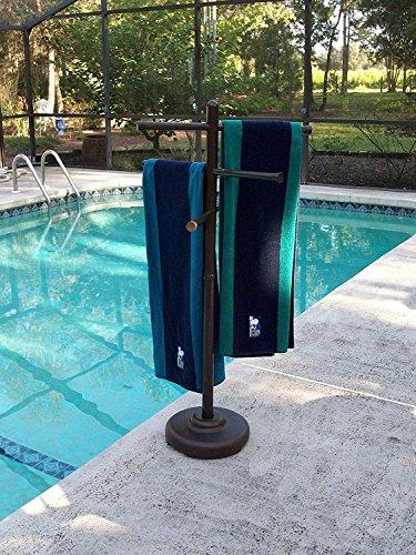 Bronze Portable Lamp - Outdoor Lamp company 401BRZ Portable Outdoor 3 Bar Towel Tree - Bronze