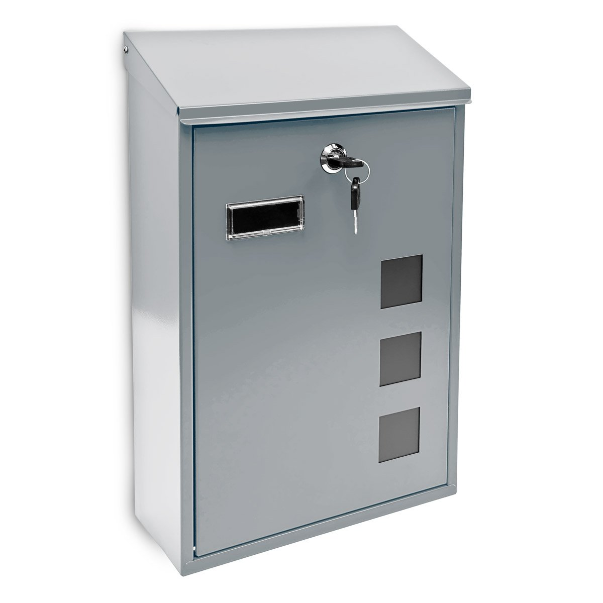Relaxdays Design Mailbox/Letterbox Metal 4 Colours 3 Viewing Windows 25x40 cm Post Mail Secure, Silver