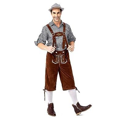 Amcool Trachten Set, Herren Lederhose Oktoberfest Original Bayerische Trachtenlederhose Kurz mit Trägern + Trachtenhemd in Vielen Farben