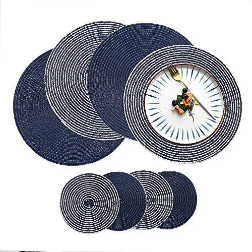 HiiARug Round Cotton Placemats and Coasters Set of 4 for Kitchen Dining Table Washable (4, Blue - Deco Dining Set