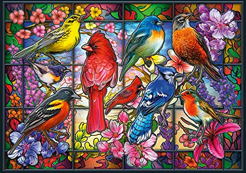 Buffalo Games - Amazing Nature Collection - Stained Glass Songbirds - 500 Piece Jigsaw - Glass Songbirds Stained