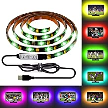 ALOTOA Bias Lighting for HDTV 59 Inch 5V USB Powered Waterproof LED Strip Multi Color RGB Light for Flat Screen TV LCD, Desktop PC Monitor, Home Theater