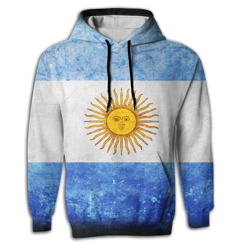 QQMIMIG Unisex Watercolor Argentina Flag 3D Printed Pullover Long Sleeve Fleece Hooded Sweatshirts with Pockets