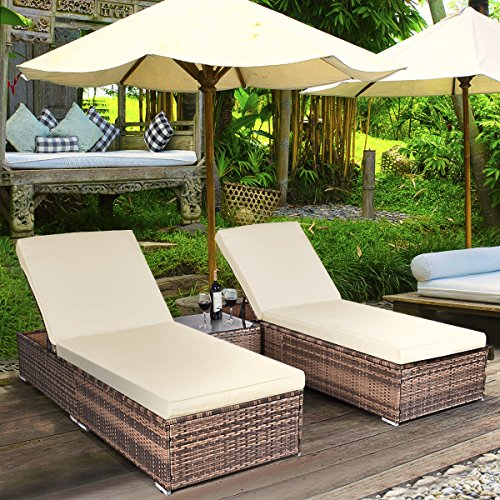 TANGKULA 3 Piece Chaise Lounge Chair Set Patio Wicker Chaise Furniture Set (Dark Brown) (Furniture Outdoor Double Chaise)