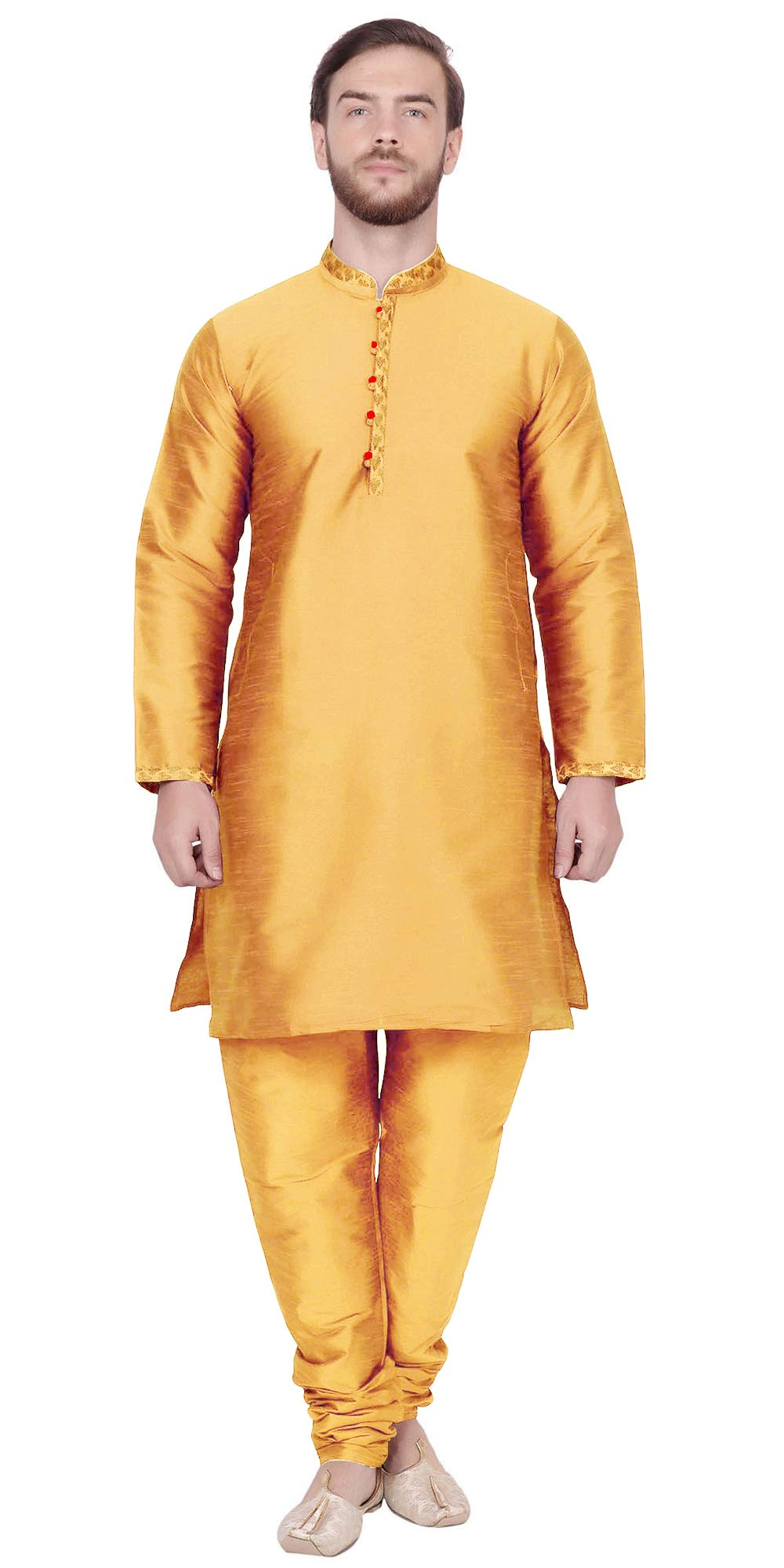 Lakkar Haveli Mens Indian 100/% Cotton Shirt Button Down Tunic Shirts Kurta Solid Gold Color Plus Size