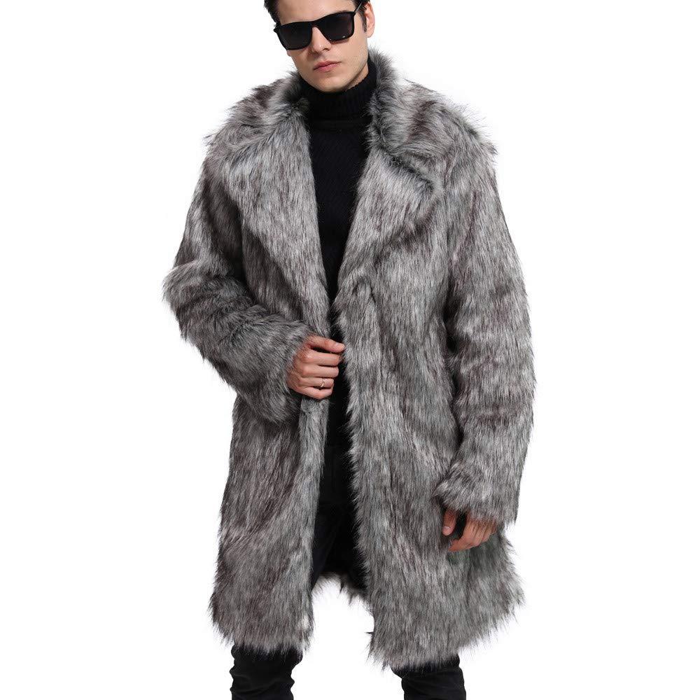 gris Asia XL Fausse Fourrure Homme CIELLTE Manteau Longue Peluche Blousons Duvet Veste d'hiver Coat Grande Taille Autumn Winter Outercoat Hipster