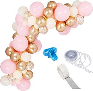 Pink Gold Balloon Garland Kit, Including Chrome Gold, Ivory, Baby Pink & White Gold Confetti Balloons Decorations Backdrop Ideal for Girls Birthday Baby Bridal Shower Party Decorations