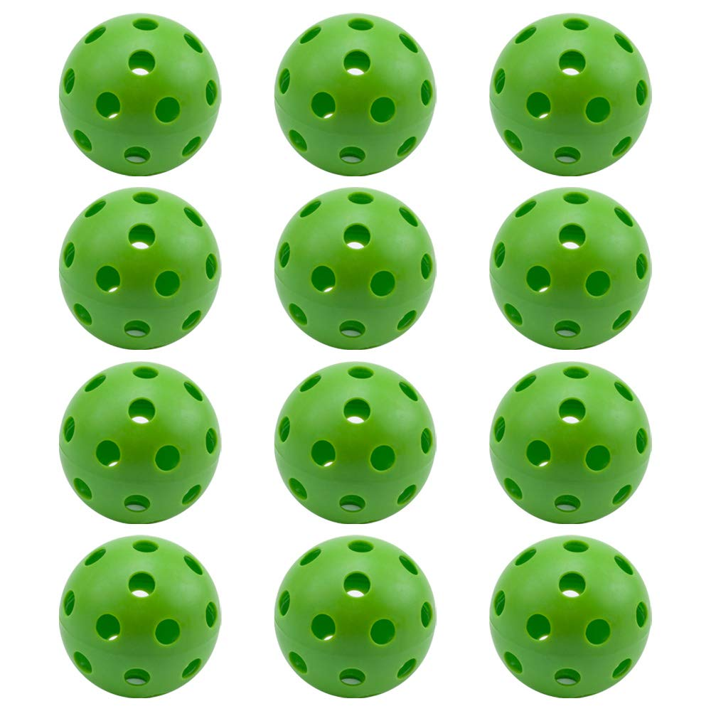 GSE Games & Sports Expert 12パック 規定サイズ トレーニング プラクティス プラスチック 野球 屋内 ピックルボール エアフロー 中空ソフトボール (複数色)