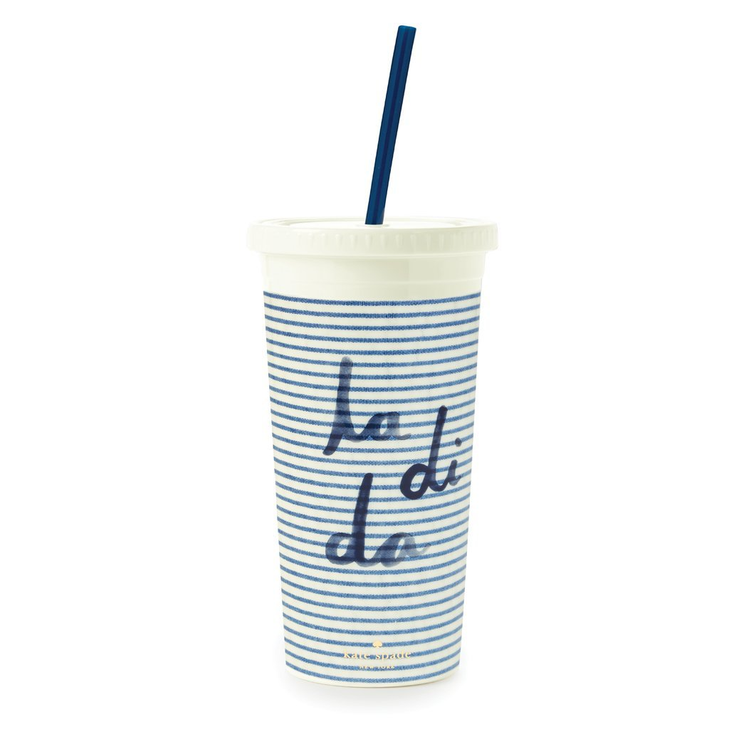 Kate Spade New York Women's Seersucker Tumbler with Straw, White/Blue, One Size