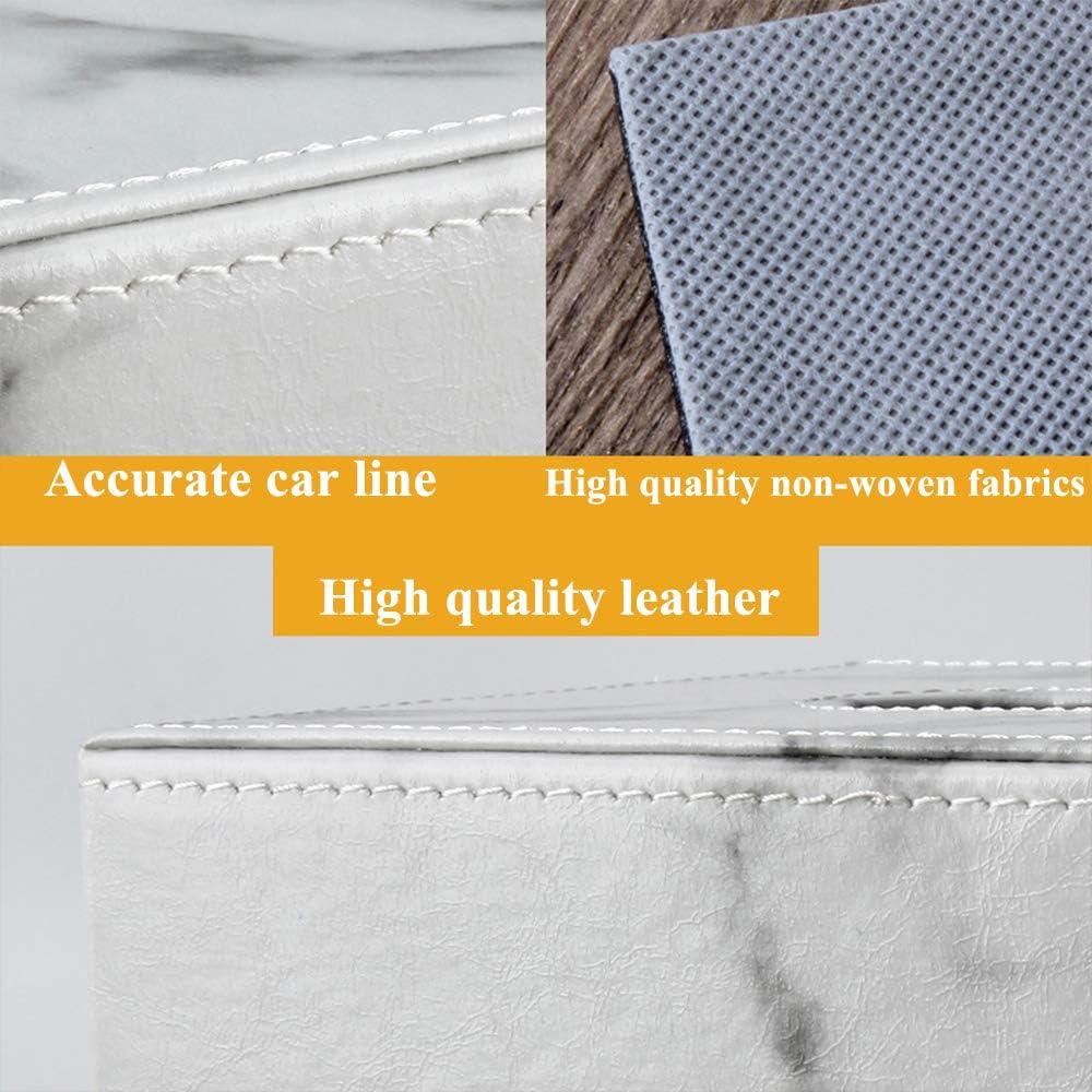 Box Cover for Tissues PU Leather Household Office Rectangular Tissie Paper Holder Box Cover Case Modern Marble Paper Facial Tissue Box Cover Case Dispenser
