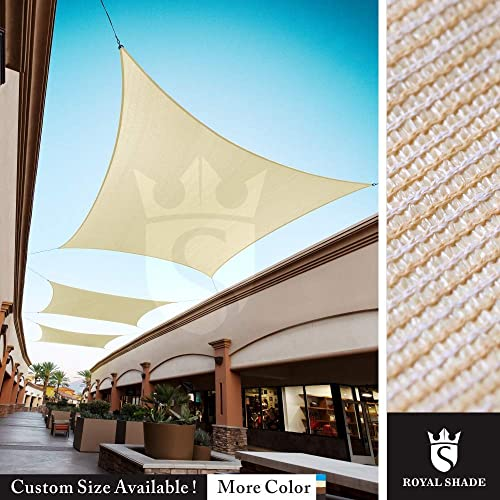 Royal Shade Custom Size Order to Make Sun Shade Sail Canopy Mesh Fabric UV Block Rectangle – Commercial Standard Heavy Duty – 200 GSM – 5 Years Warranty 19 x 23 , Beige