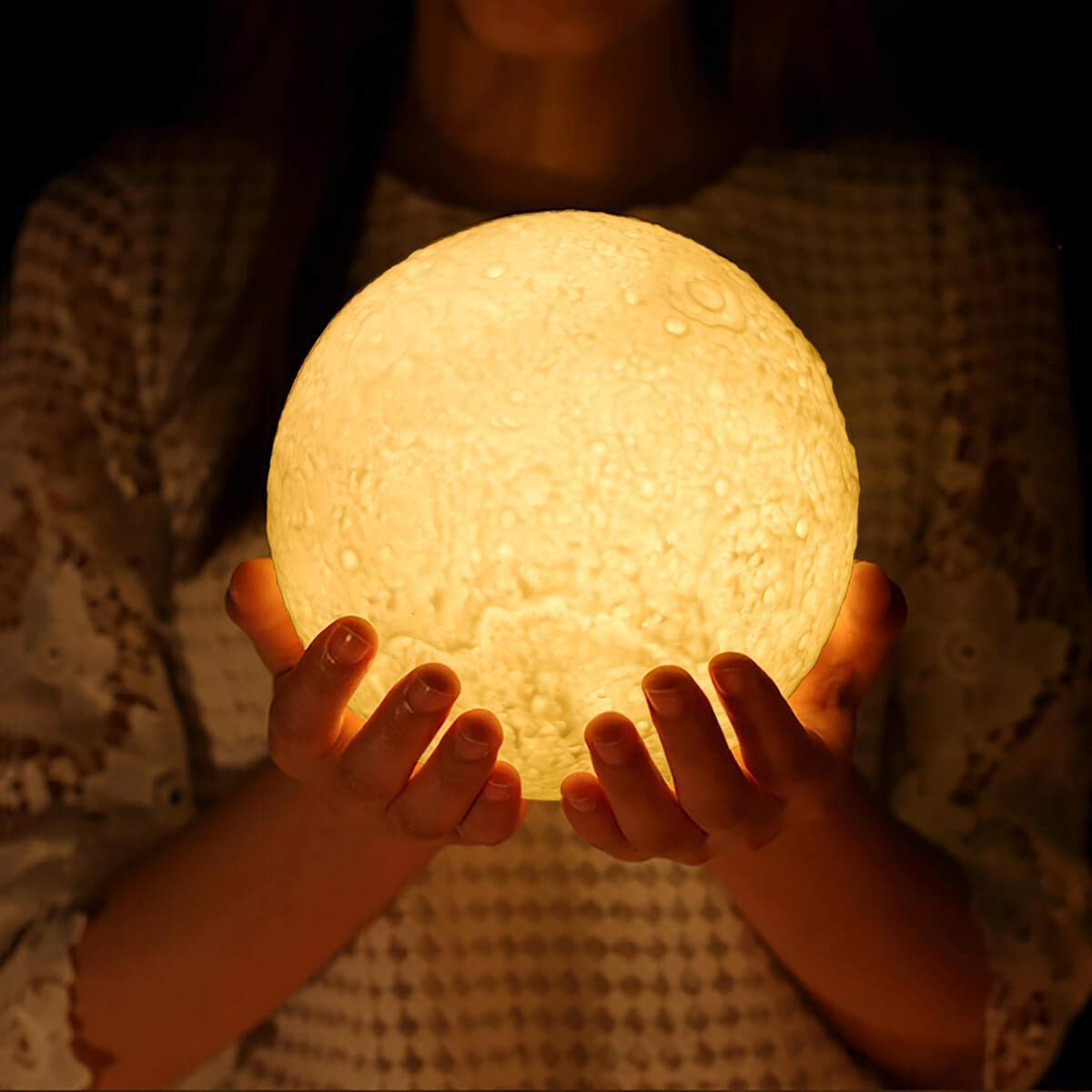 JORLAI 3D Printing Moon Lamp with Stand 16 Colors 15cm Touch Control&Remote Control USB Rechargeable Lighting LED Decorative Night Light for Baby Kids Lover Birthday Party Gifts