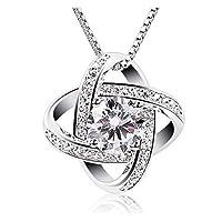 "SheClub 925 Sterling Silver ""Forever Love"" Women Zircon Necklace Pendant 45cm (18'') Silver Box Chain"