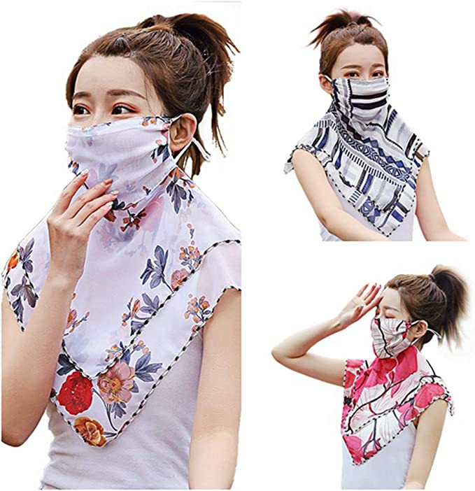Details about  /NEW Balaclava Bandana UV Protection Flowers Patterned Face Neck Tube Women Scarf