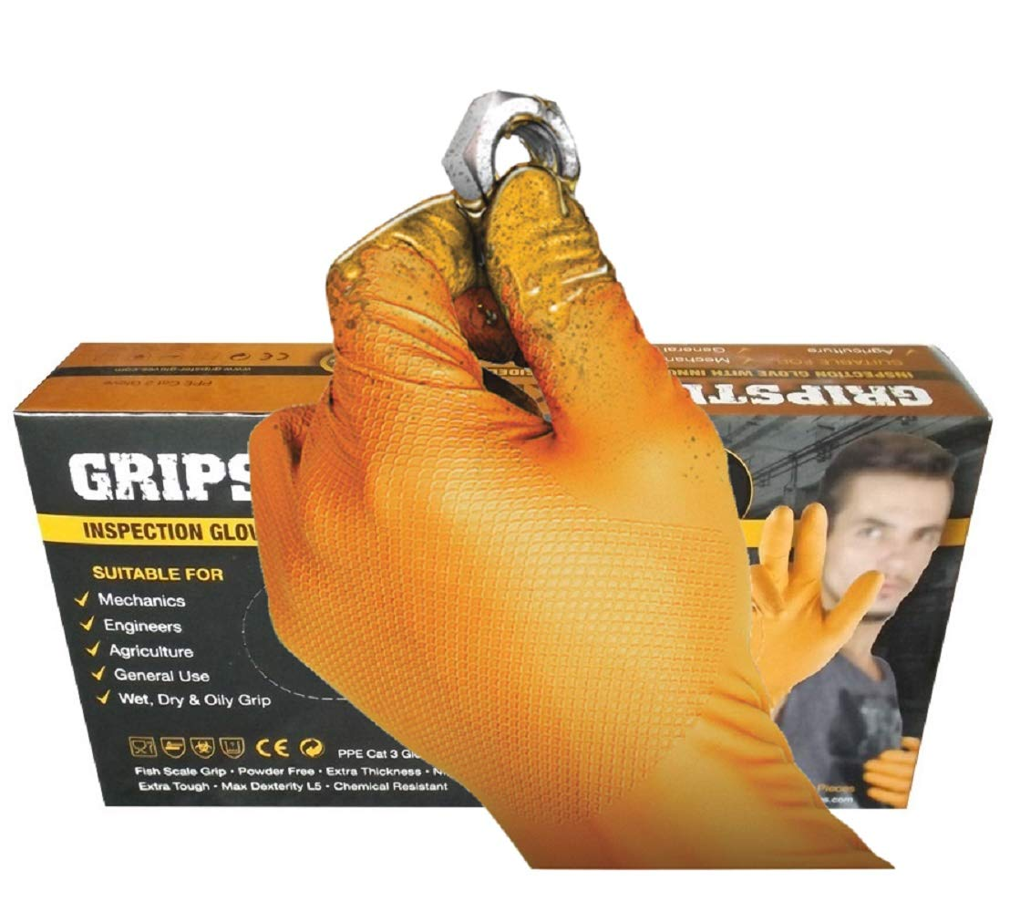 Box 50 M GRIPSTER Skins Orange 6mil Nitrile Inspection Glove with Unique Fishscale Grip