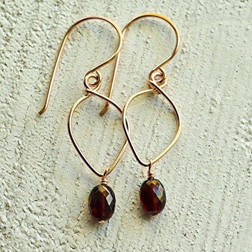 Garnet earrings lotus loop 14kt rose gold-filled January (Bohemian Garnet Earrings)