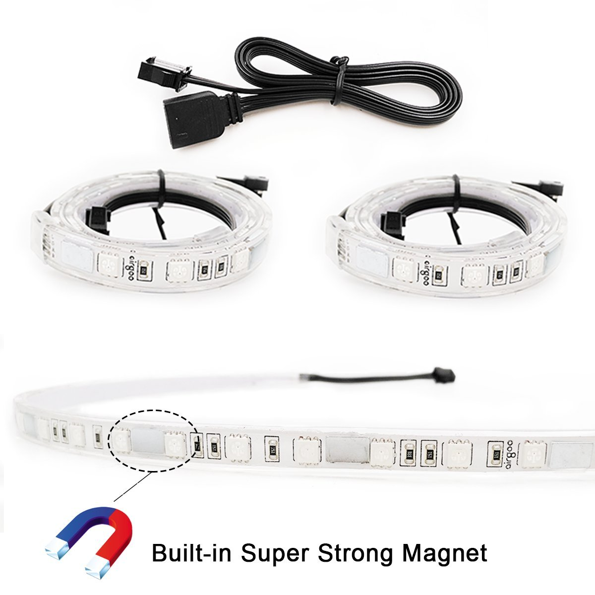 Extended Computer Magnetic LED Strip - 2pcs Magnetic RGB LED Strip Light  for ASUS Aura RGB/MSI Mystic Light/ASROCK Aura RGB Motherboard (12V 4-Pin  RGB