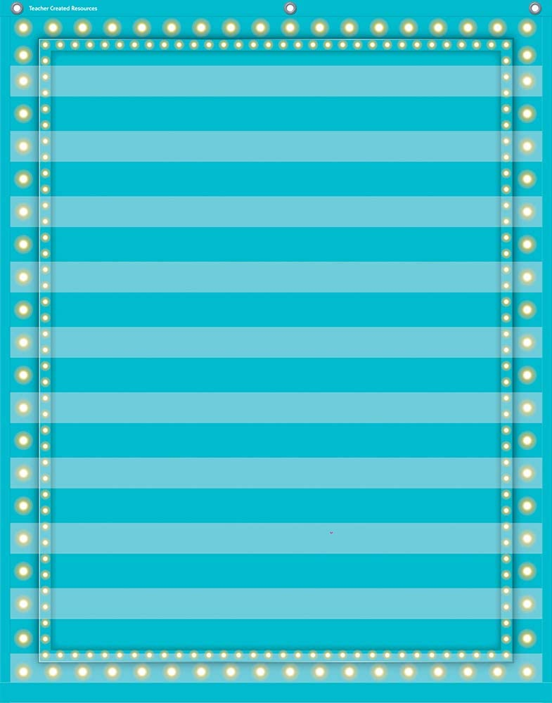 "Teacher Created Resources Light Blue Marquee 10 Pocket Chart (34"" x 44"") (20778)"
