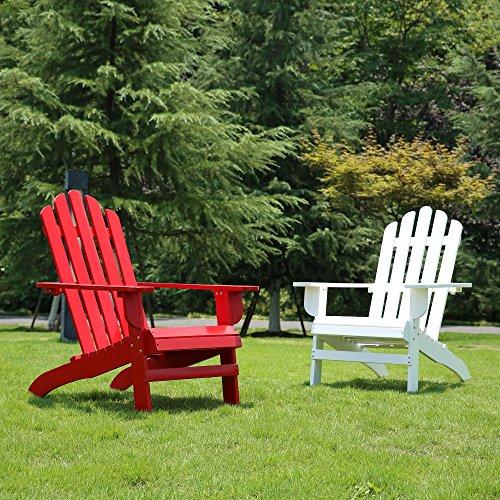 Azbro SongSen Outdoor Wooden Fashion Adirondack Chair/Muskoka Chairs Patio Deck Garden Furniture,White