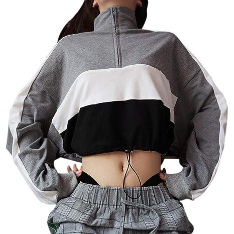 Sweatshirt Damen Kolylong® Frauen Beiläufig Streifen Patchwork Sweatshirt Herbst Mode Langarmshirts Kurz Zipper Pullover Spor
