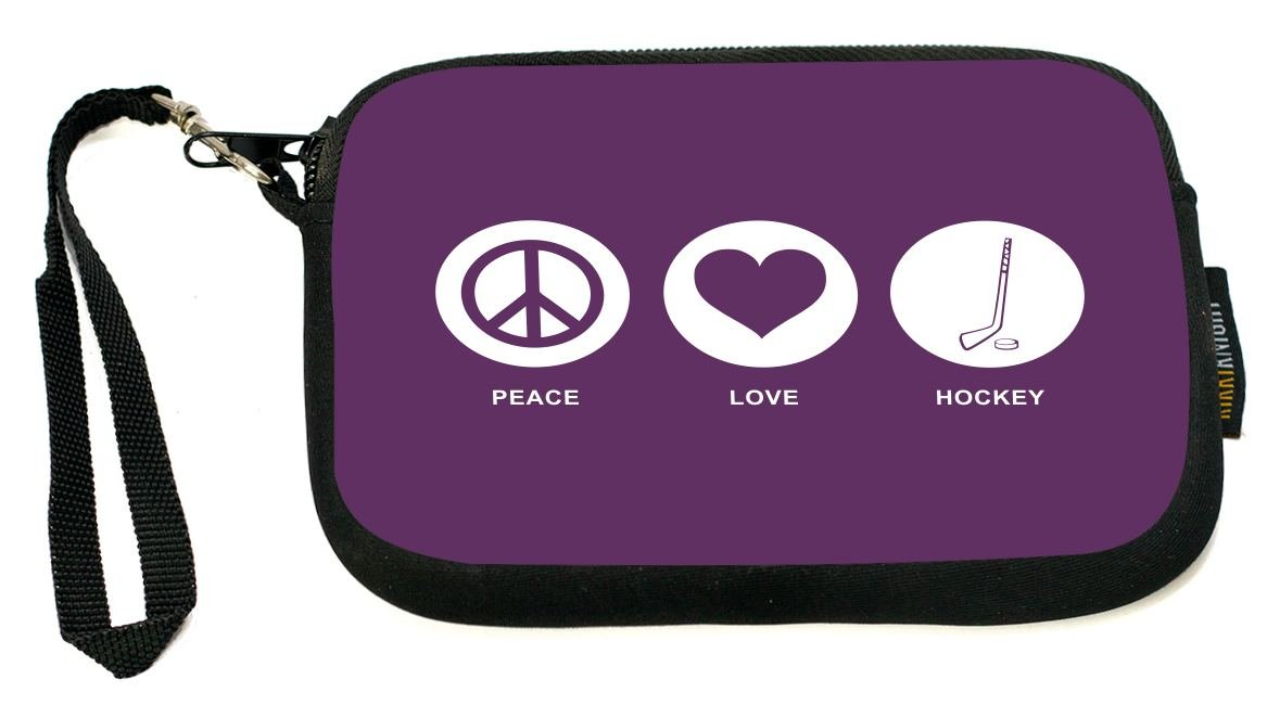 UKBK Peace Love Hockey Purple Color Neoprene Clutch Wristlet with Safety Closure - Ideal case for Camera, Universal Cell Phone Case etc.