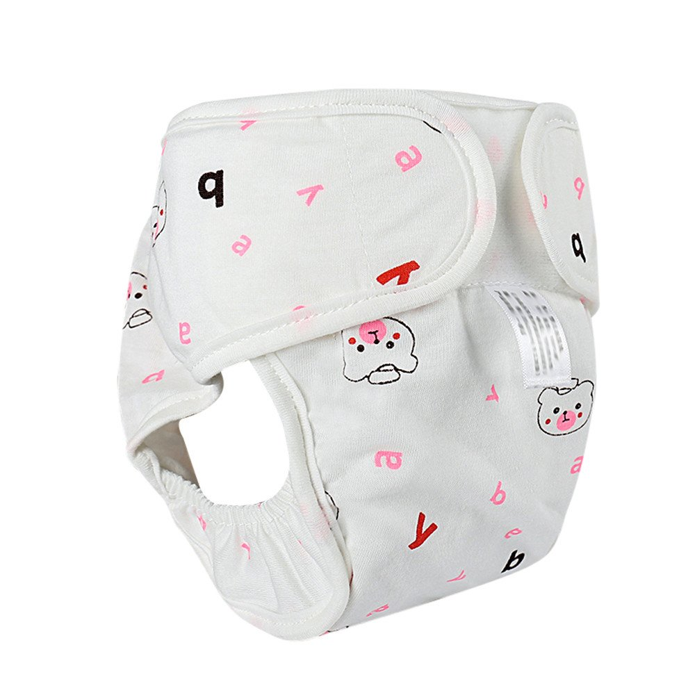 Wenjuan Printed Anti-side Leakage Print Cloth Diaper Reusable Pants Washable Snap Nappy For Baby Infant Newborn (Pink, S)