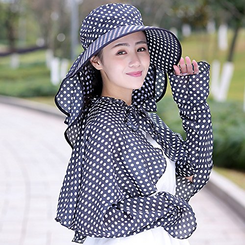 - LIZHONG-SLT Ms. summer hat shawl Hat Visor sunshade cap face sunscreen tea outdoor cycling UV cap,A single shawl without a hat,Black wave point