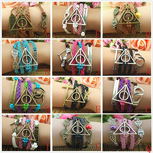 Harry Potter Deathly Hallows, Infinity, Owl, Believe Freedom Braided Leather Bracelet (Style N)