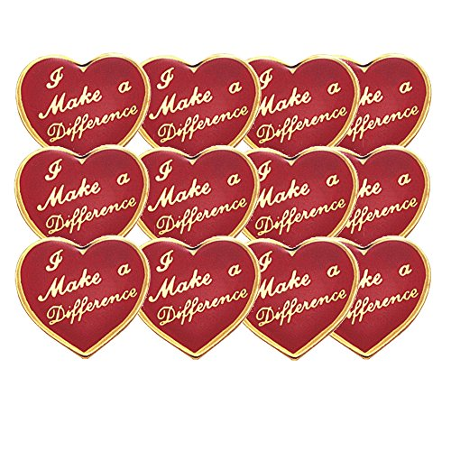 - 5/8 Inch I Make A Difference Lapel Pin - Package of 12, Poly Bagged