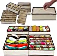 Styleys Fabric Foldable Storage Box (Beige, Standard Size) - Set of 4