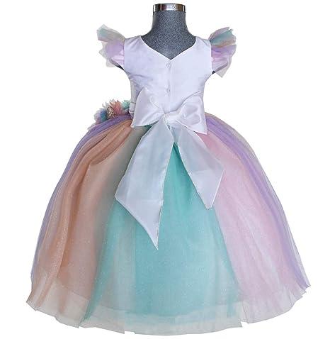 f41265d62f Maylin Vestido de Princesa Unicornio para Niña (6)  Amazon.com.mx  Ropa