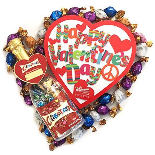 Mars celebrations chocolate in champagne bottle with whitman's sampler in heart shaped valentines box