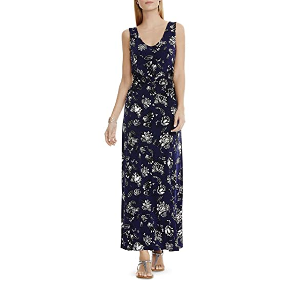 Vince Camuto Womens Matte Jersey Floral Print Casual Dress Navy M at ...