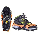 Crampons for Shoes, Vdealen Strap Type Crampons, Ski Belt High Altitude Hiking Slip-resistant Snow Ice Spikes, Ice Snow Grips, Crampons, Anti-Slip Traction Ice Cleats12 Teeth Stainless Steel Crampons for Walking on Snow and Ice