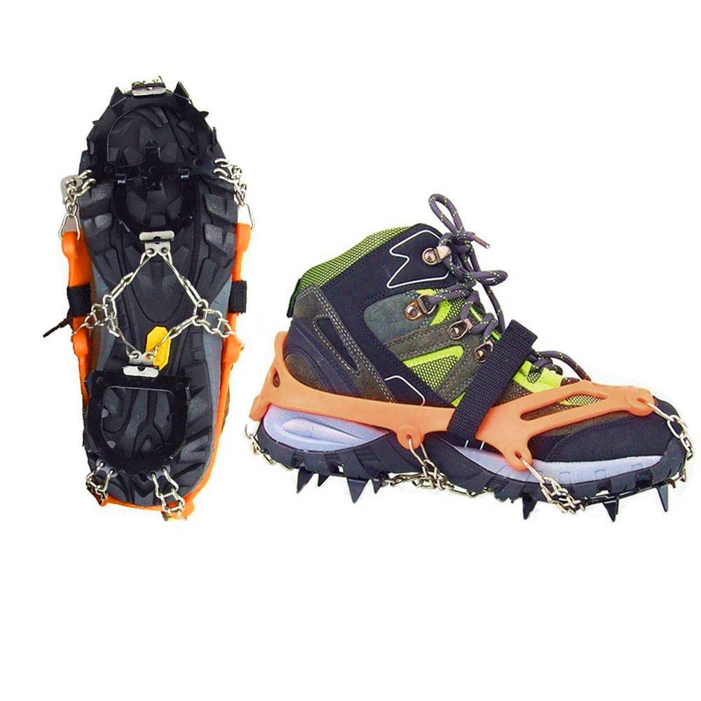 Vdealen Paire de Crampons à glace en acier inoxydable avec 12pointes - Crampons antidérapants avec chaîne - pour le ski de randonnée, l'escalade, la randonnée sur glace et neige, Arancione/ M (36-41) l' escalade