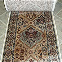 152916 - Rug Depot Rizzy Bellevue BV3207 Beige Panel Traditional Hall and Stair Runner - 26 Wide Hallway Rug Runner - Custom Sizing - Beige Background - Choose Your Length - 26 x 13 feet
