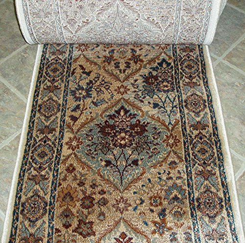 152916 - Rug Depot Rizzy Bellevue BV3207 Beige Panel Traditional Hall and Stair Runner - 26'' Wide Hallway Rug Runner - Custom Sizing - Beige Background - Choose Your Length - 26'' x 24 feet by Rug Depot